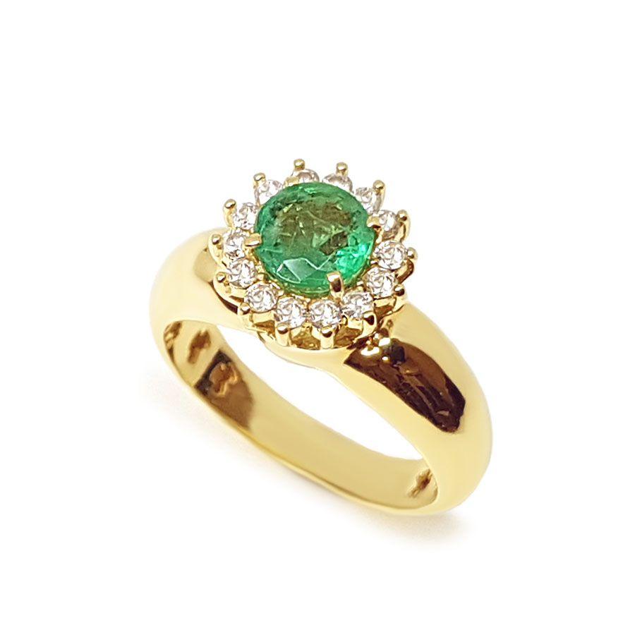 Anel Ouro 18k com Esmeralda de 81 pontos  e Diamantes