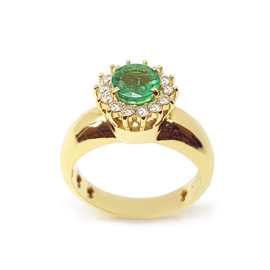 Anel Ouro 18k com Esmeralda de 81 pontos  e Diamantes  - YVES