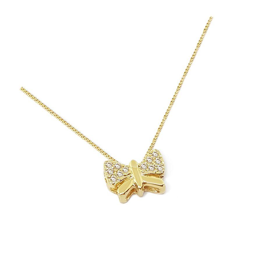 Corrente Com Pingente Borboleta Ouro 18k com Diamantes   - YVES
