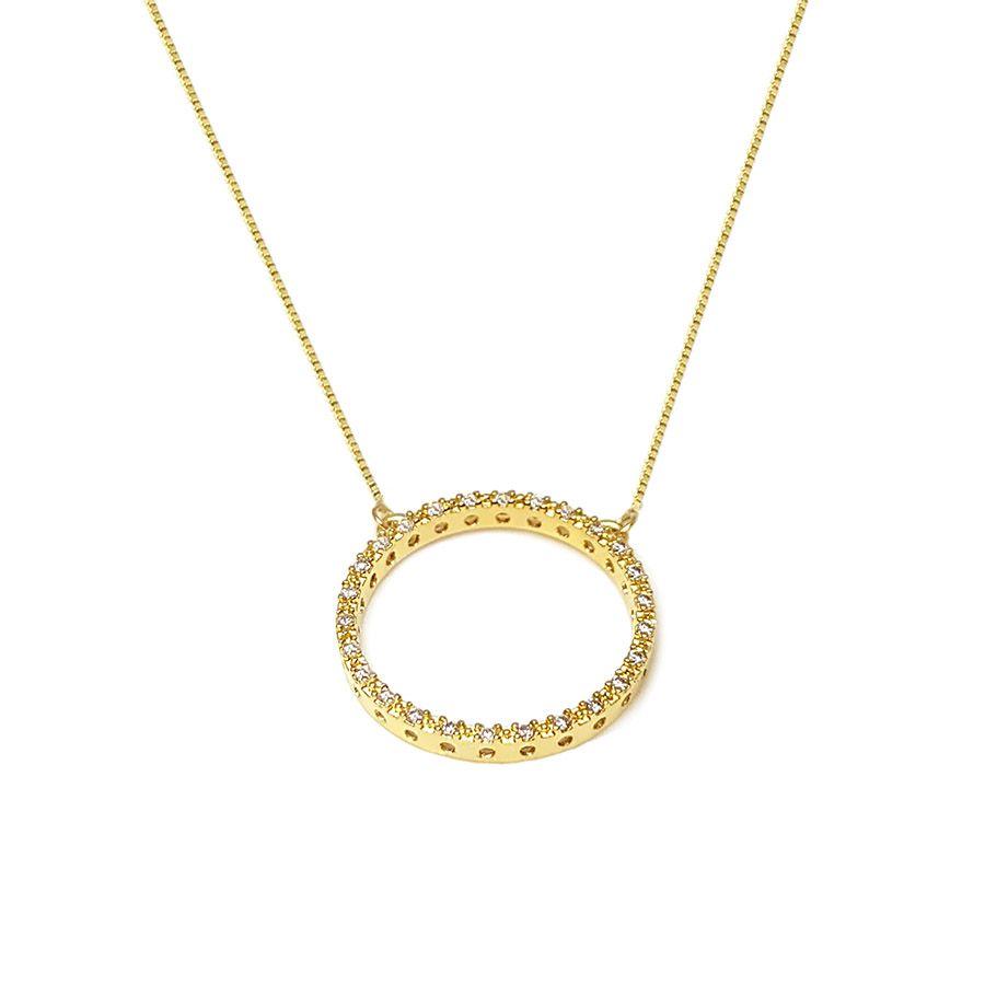 Corrente com Pingente Circulo com Diamantes   - YVES