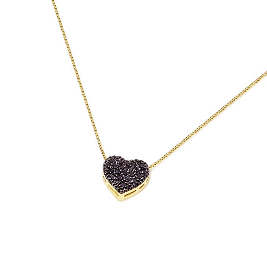 Corrente com Pingente Coração Ouro 18k com Diamante Negro