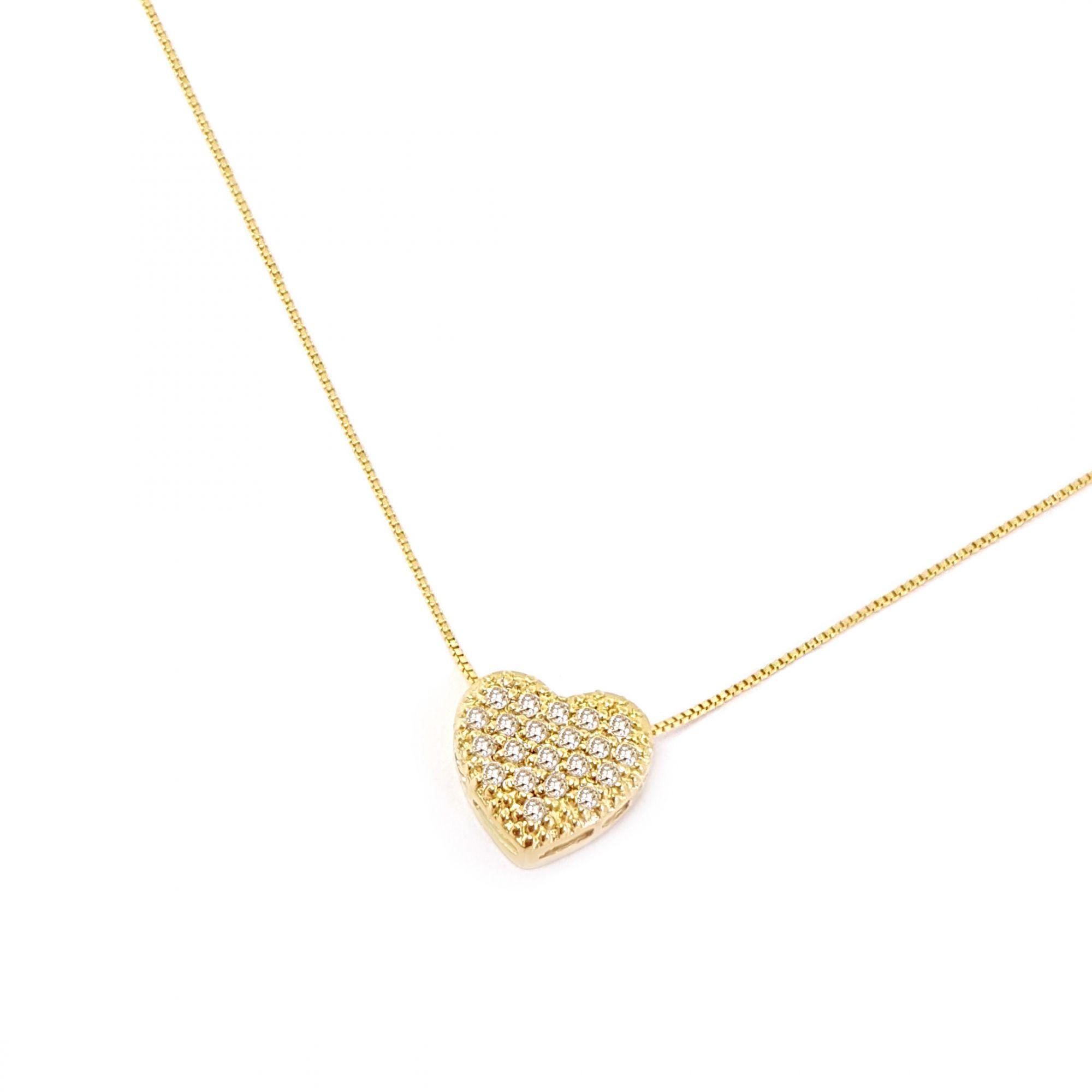 Corrente Com Pingente Coração Ouro 18k com Diamantes - YVES JOIAS 1c110d1a51
