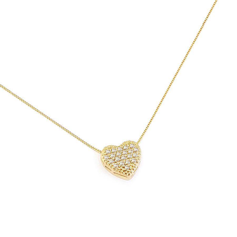 Corrente Com Pingente Coração Ouro 18k com Diamantes   - YVES