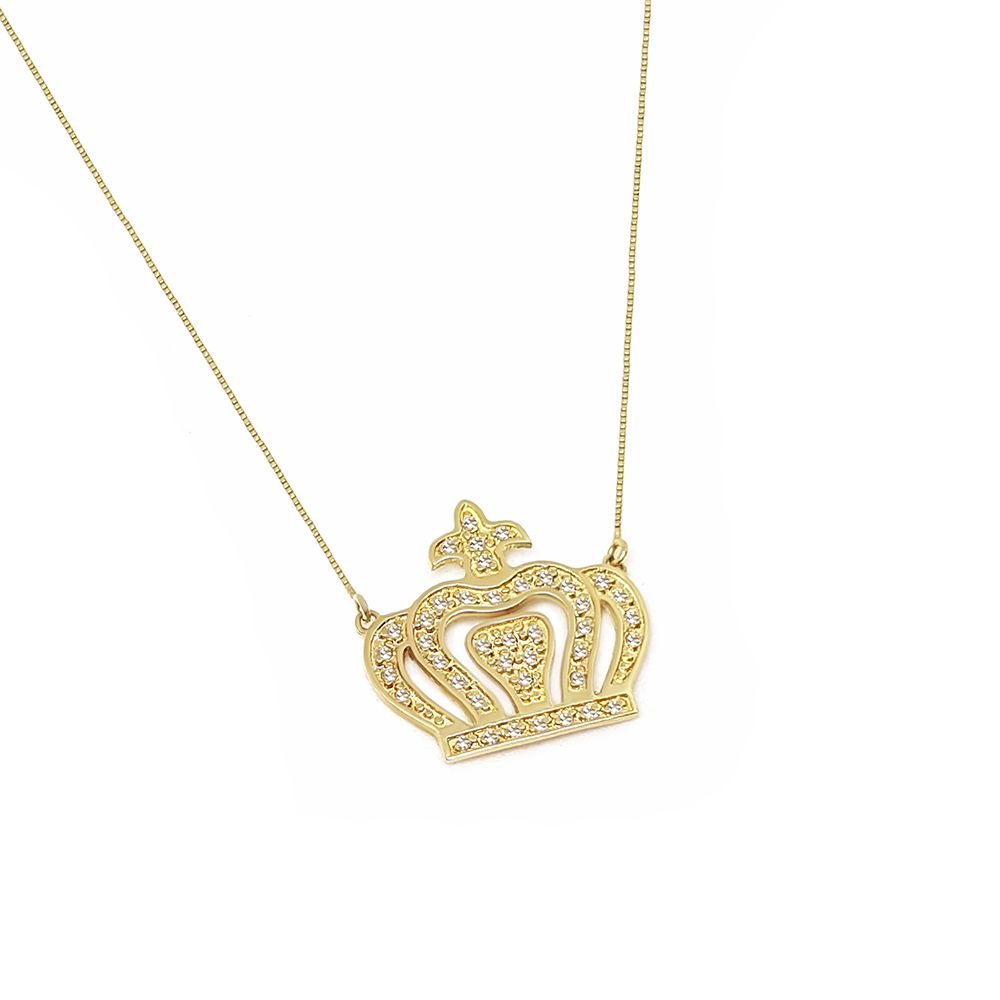 Corrente Com Pingente Coroa Ouro 18k com Diamantes