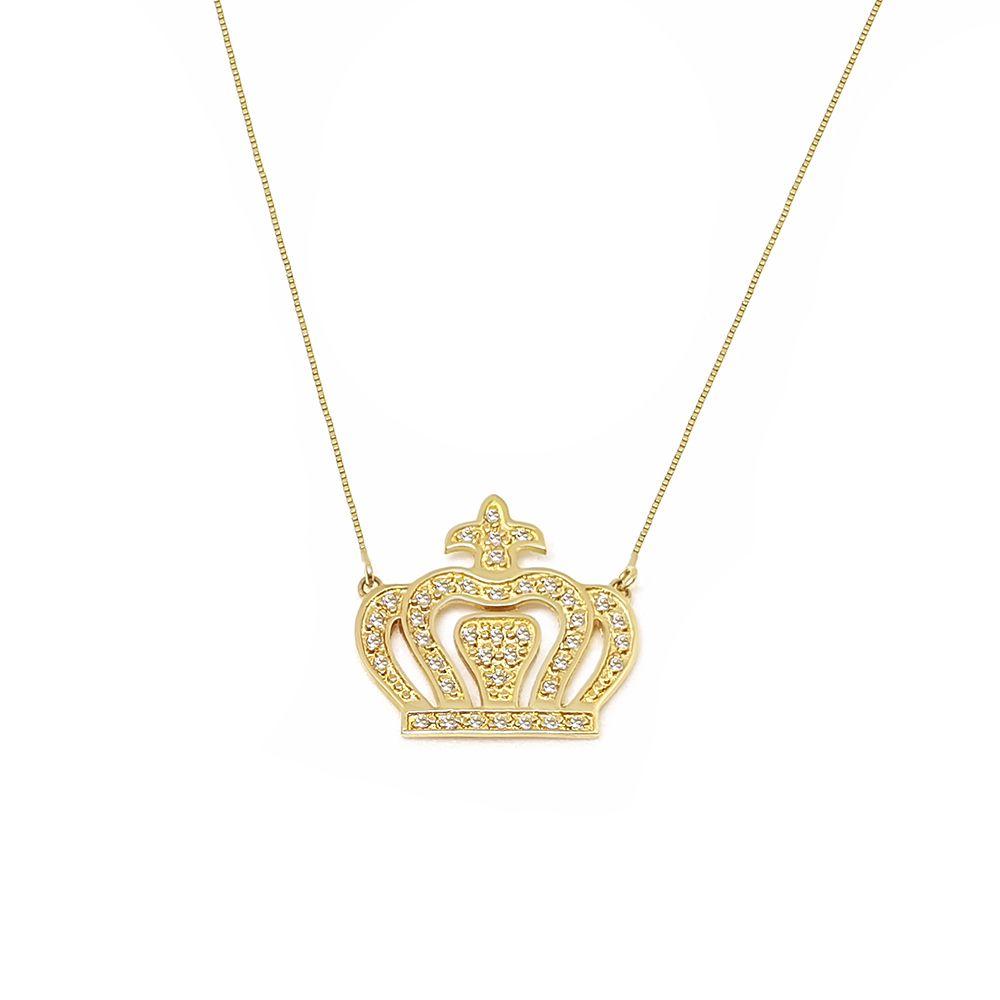 Corrente Com Pingente Coroa Ouro 18k com Diamantes   - YVES