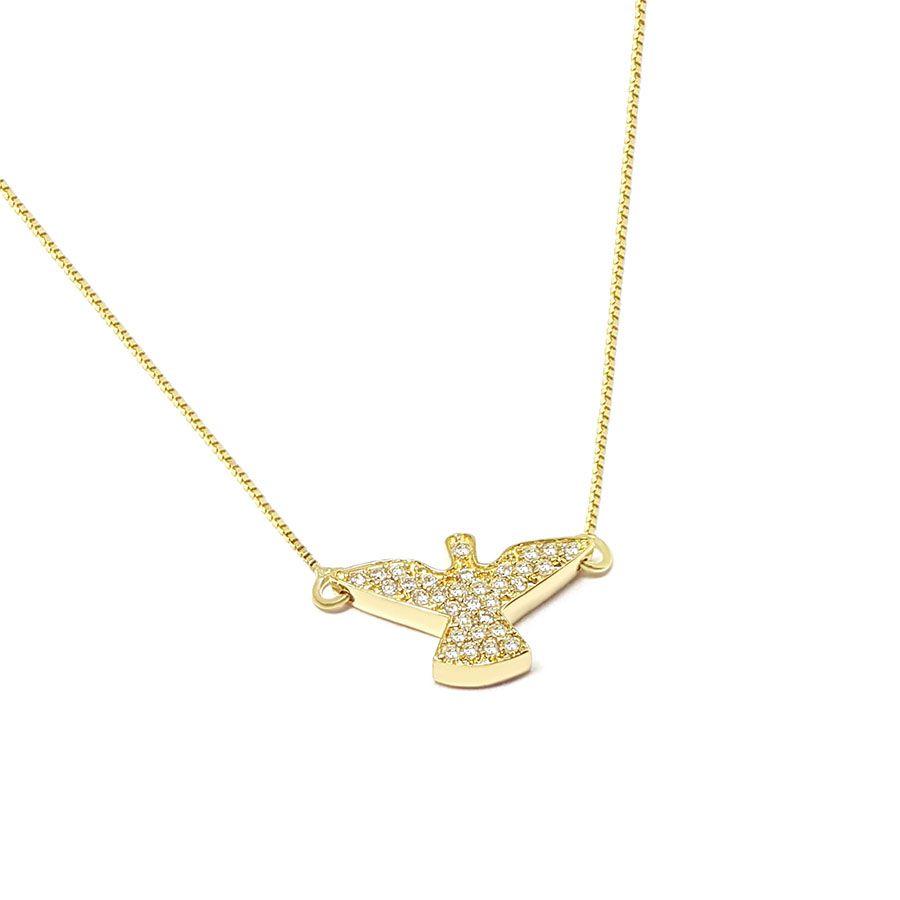 Corrente Com Pingente Espirito Santo Ouro 18k com Diamantes