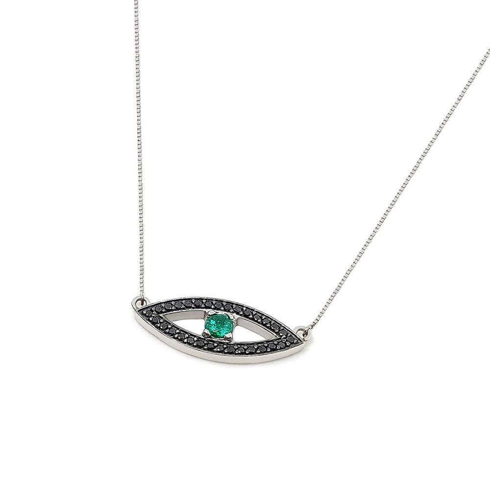 Corrente Com Pingente Olho Grego Ouro 18k com Esmeralda e Diamante Negro