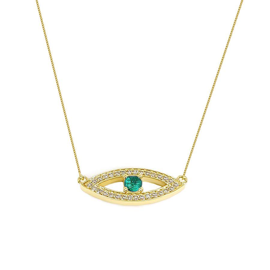 Corrente Com Pingente Olho Grego Ouro 18k com Esmeralda e Diamantes