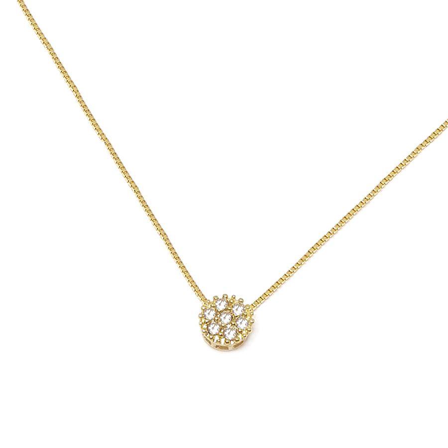 Corrente Com Pingente Ouro 18k com 7 Diamantes