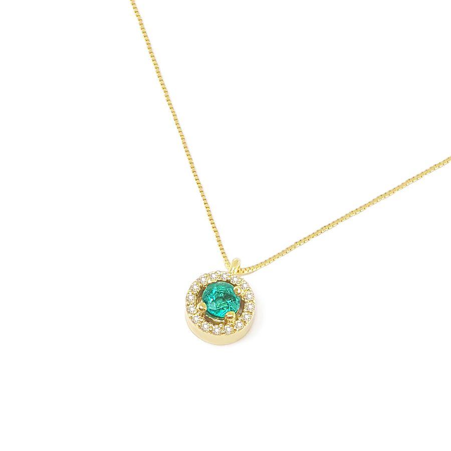 Corrente com Pingente Ouro 18k com Esmeralda e Diamantes   - YVES
