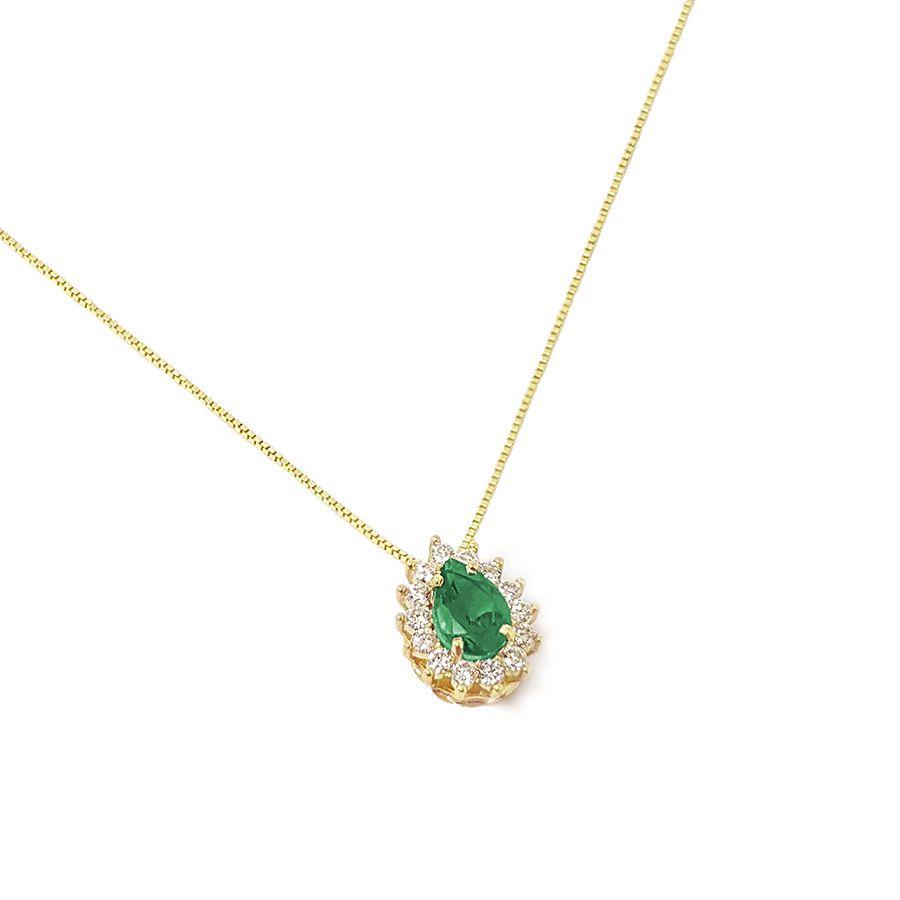 Corrente com Pingente Ouro 18k com Esmeralda e Diamantes