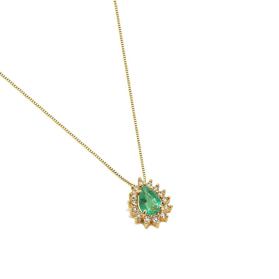 Corrente com Pingente Ouro 18k com Esmeralda Gota e Diamantes