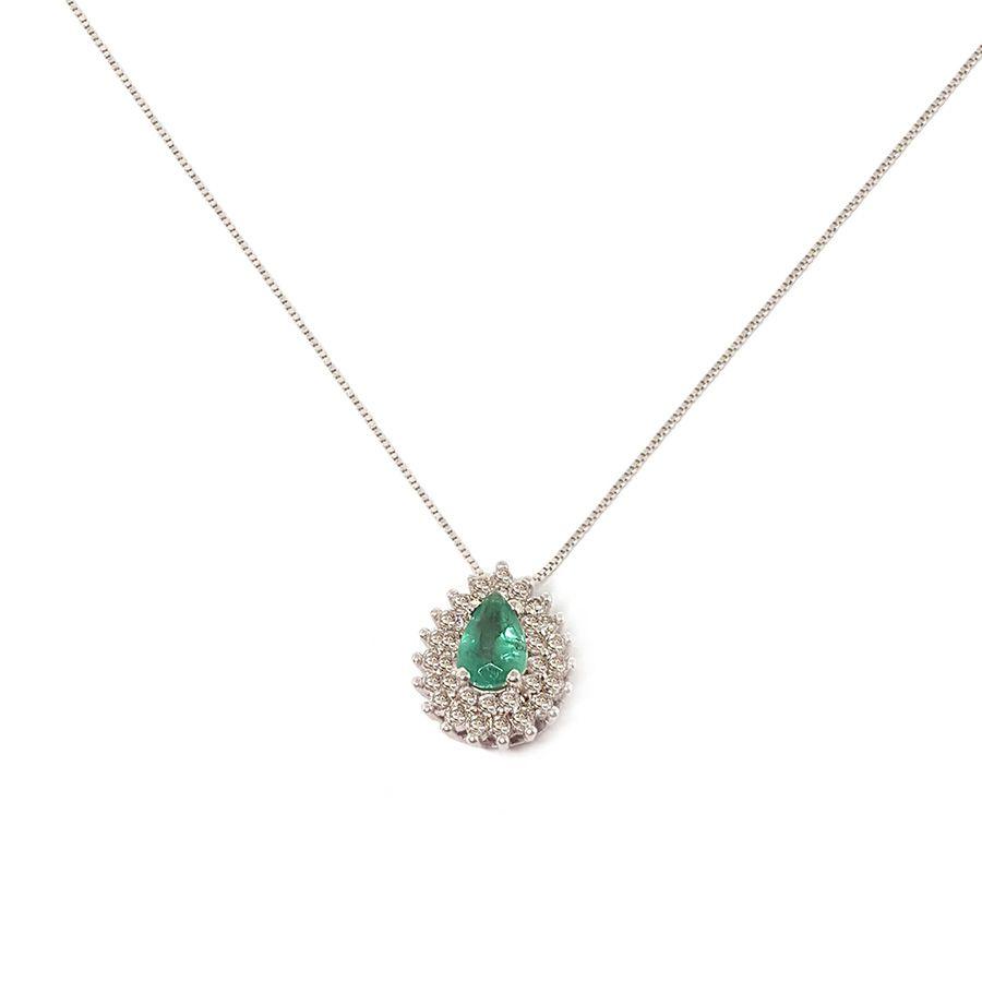 Corrente com Pingente Ouro 18k com Gota de Esmeralda e Diamantes