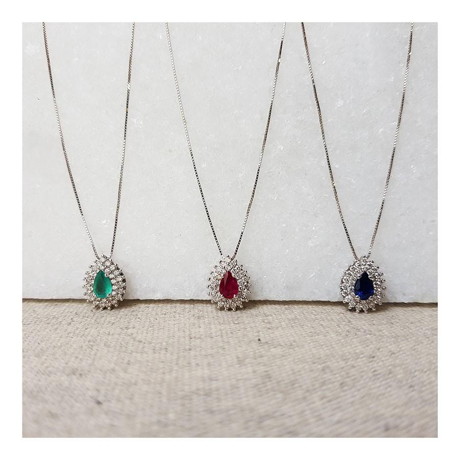 Corrente com Pingente Ouro 18k com Gota de Esmeralda e Diamantes   - YVES