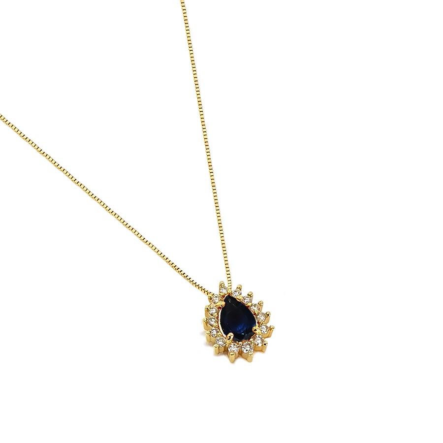 Corrente com Pingente Ouro 18k com Gota de Safira e Diamantes