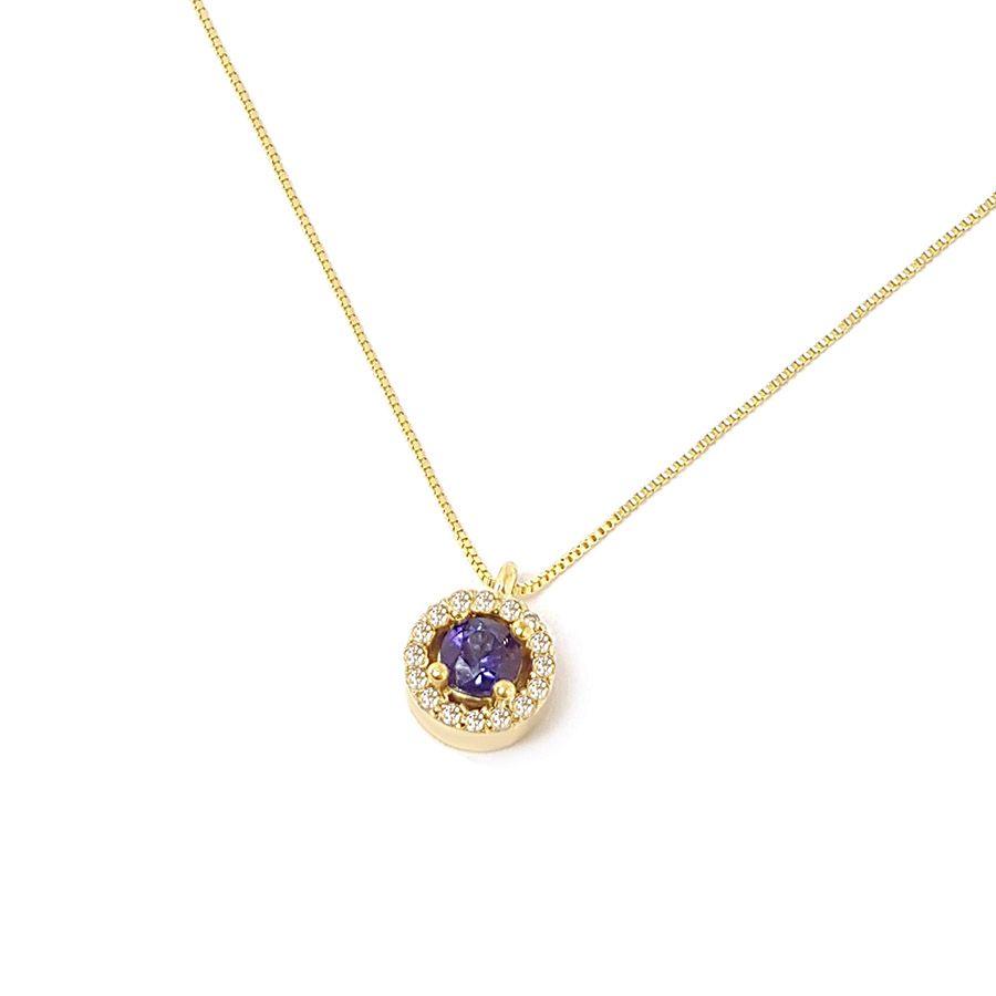Corrente com Pingente Ouro 18k com Safira e Diamantes