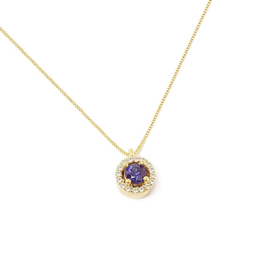 Corrente com Pingente Ouro 18k com Safira e Diamantes   - YVES