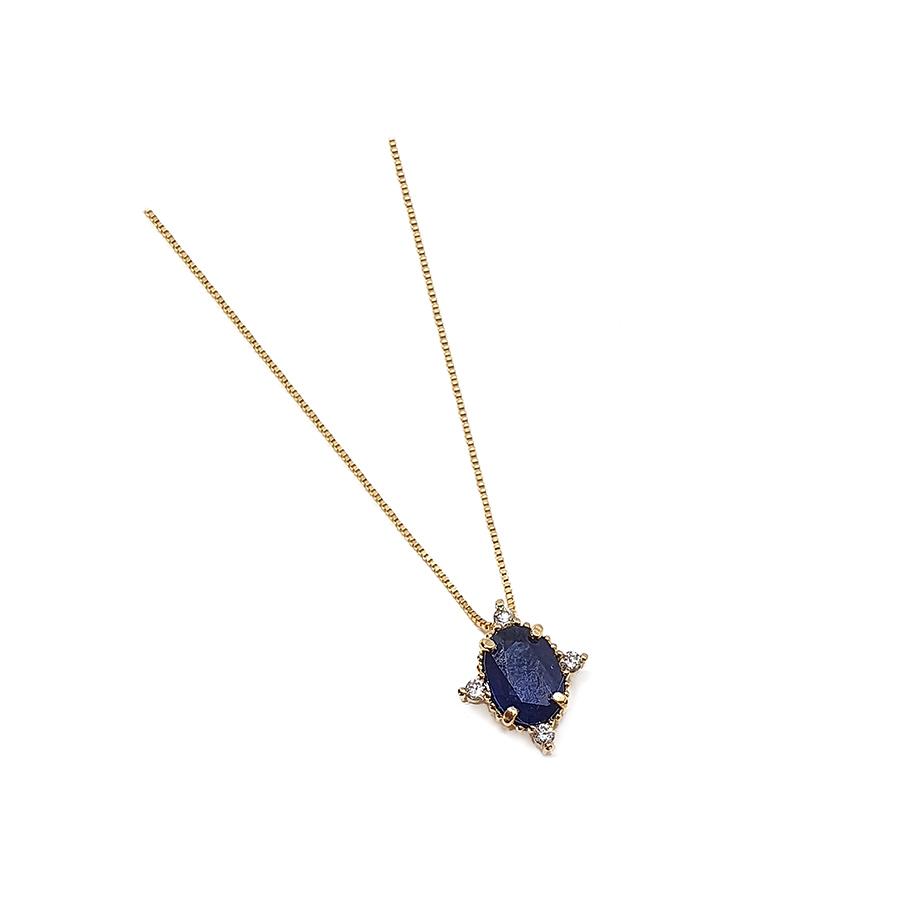 Corrente com Pingente Ouro 18k com Safira Oval Média com Diamantes  - YVES