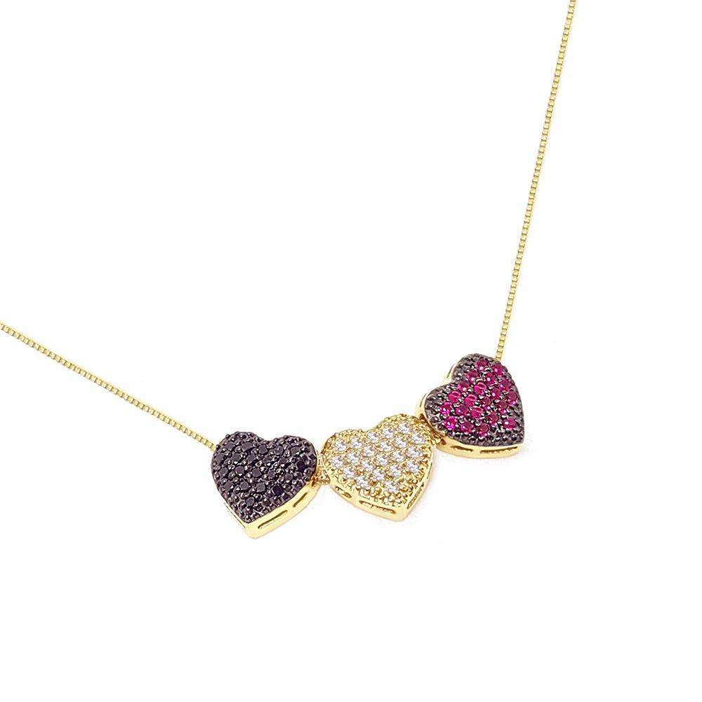 Corrente Com Pingente Ouro 18k Coração 1 Diamante Negro 1 Diamante 1 Rubi