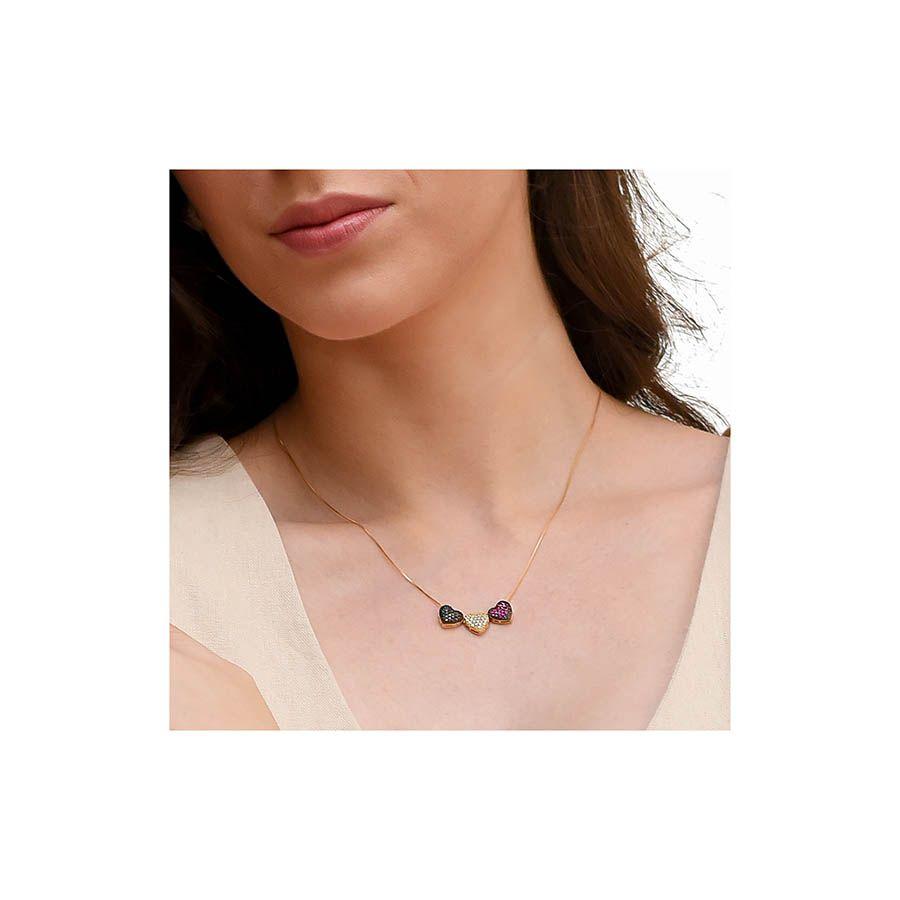 Corrente Com Pingente Ouro 18k Coração 1 Diamante Negro 1 Diamante 1 Rubi  - YVES