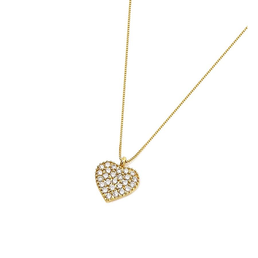 Corrente com Pingente Ouro 18k Coração com Diamantes