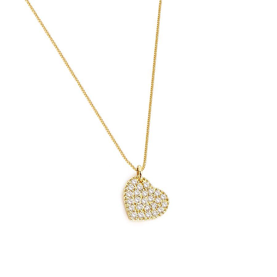 Corrente com Pingente Ouro 18k Coração com Diamantes  - YVES