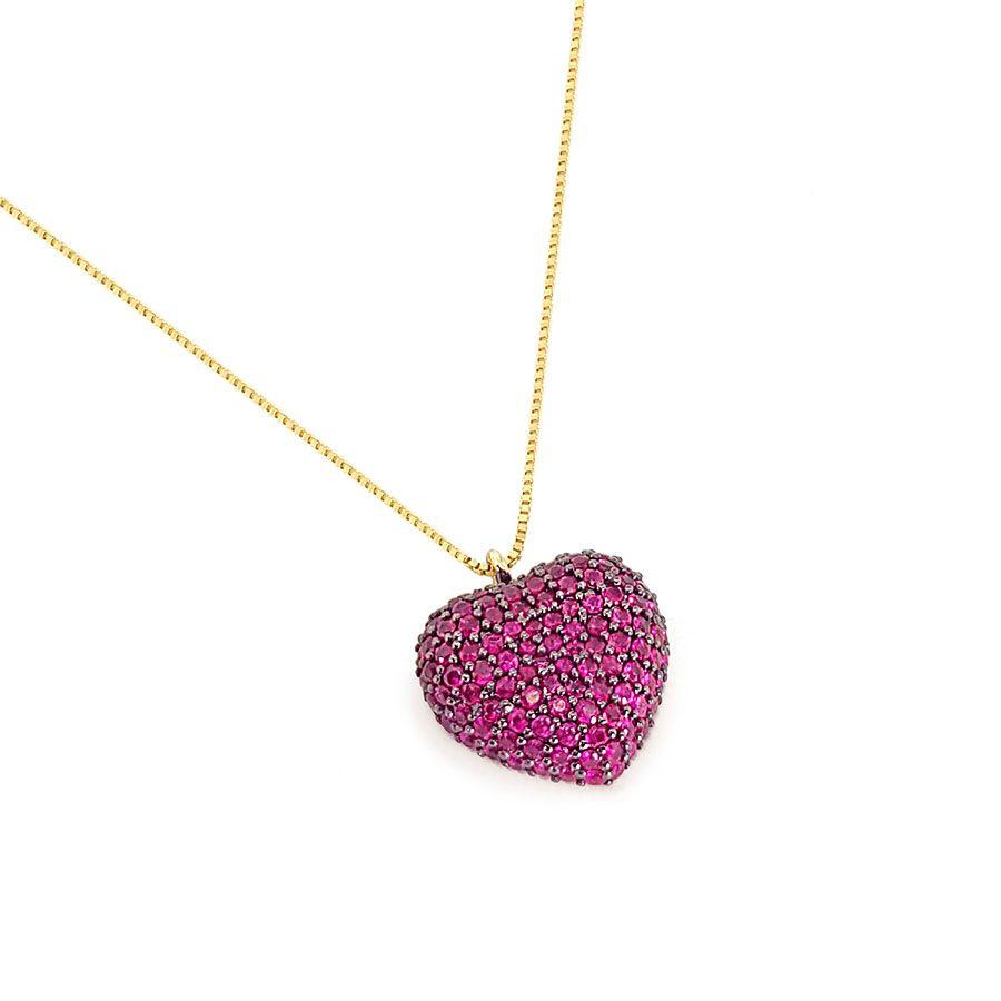 Corrente com Pingente Ouro 18k Coração com Rubis