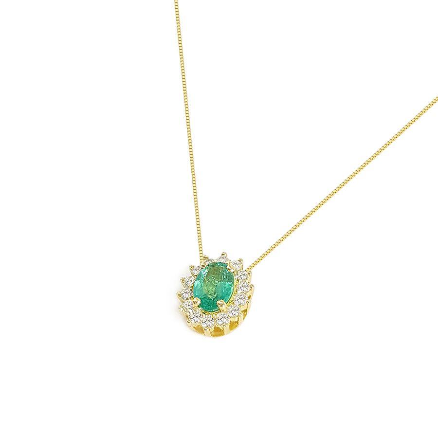 Corrente Com Pingente Ouro 18k Esmeralda Oval com Diamantes