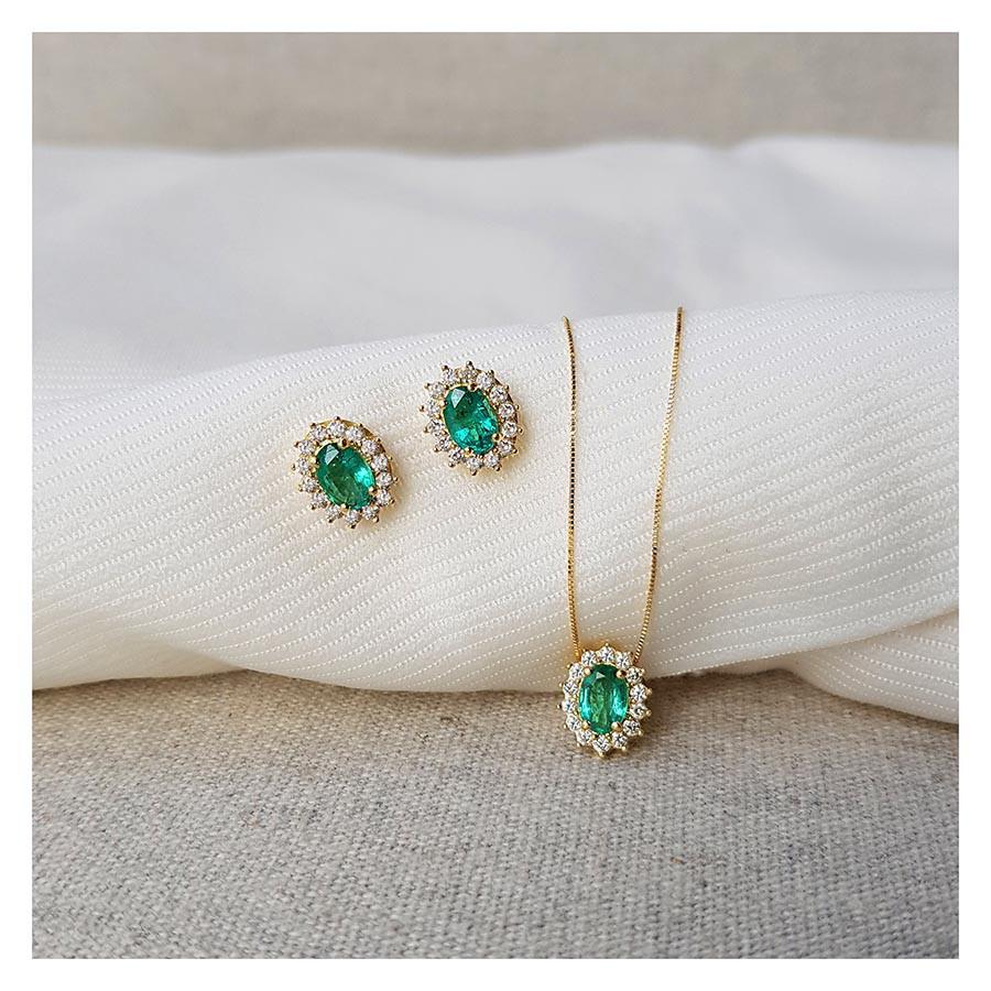 Corrente Com Pingente Ouro 18k Esmeralda Oval com Diamantes  - YVES