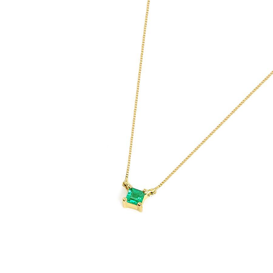 Corrente com Pingente Ouro 18k Esmeralda Quadrada  - YVES