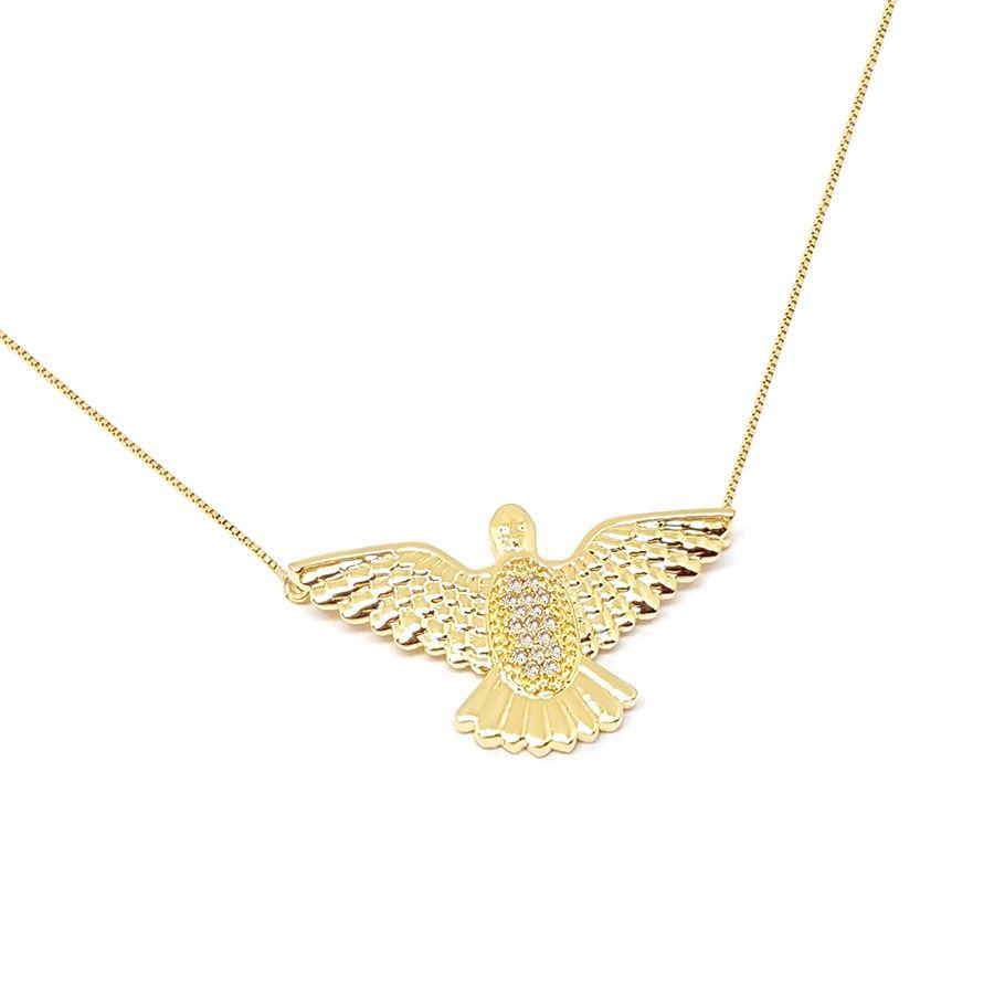 Corrente Com Pingente Ouro 18k Espirito Santo com 17 Diamantes
