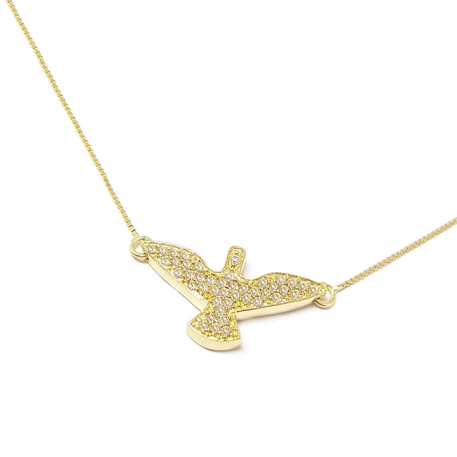 Corrente Com Pingente Ouro 18k Espirito Santo com 43 Diamantes