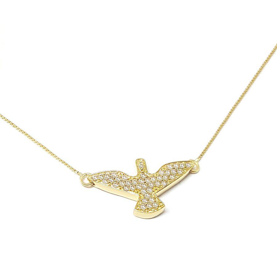 Corrente Com Pingente Ouro 18k Espirito Santo com 43 Diamantes   - YVES