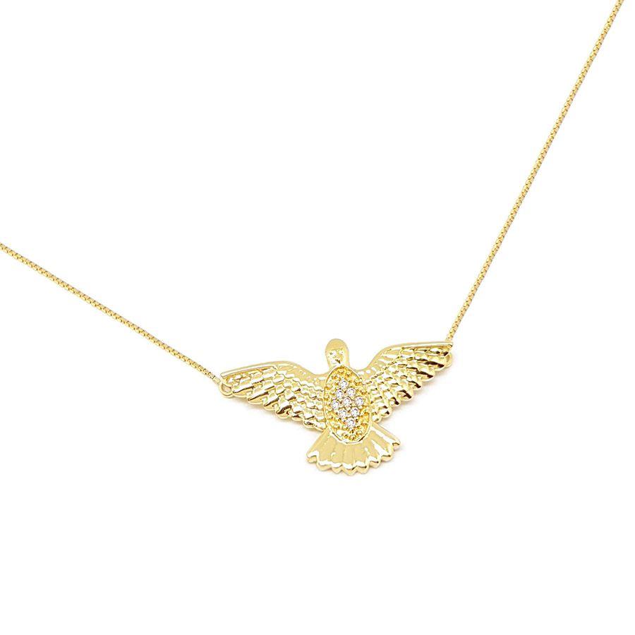 Corrente Com Pingente Ouro 18k Espirito Santo com 9 Diamantes   - YVES