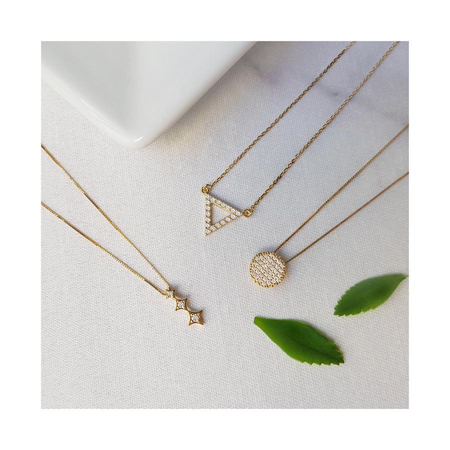 Corrente com Pingente Ouro 18k Estrelas com Diamantes  - YVES