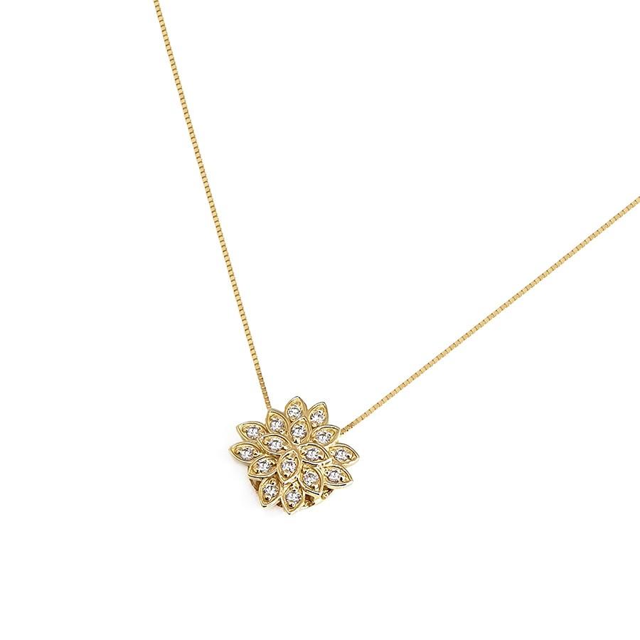 Corrente com Pingente Ouro 18k Flor com Diamantes