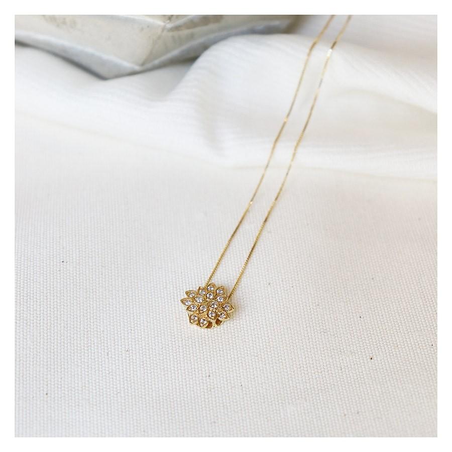 Corrente com Pingente Ouro 18k Flor com Diamantes  - YVES
