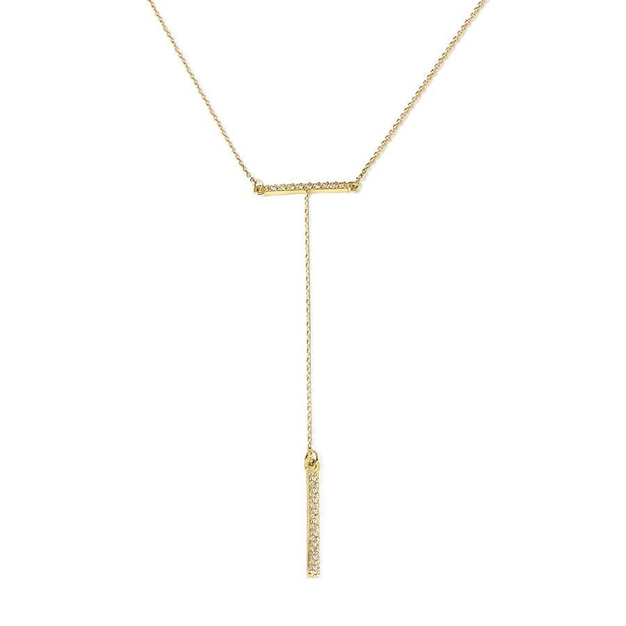 Corrente com Pingente Ouro 18k Gravatinha Com Diamantes