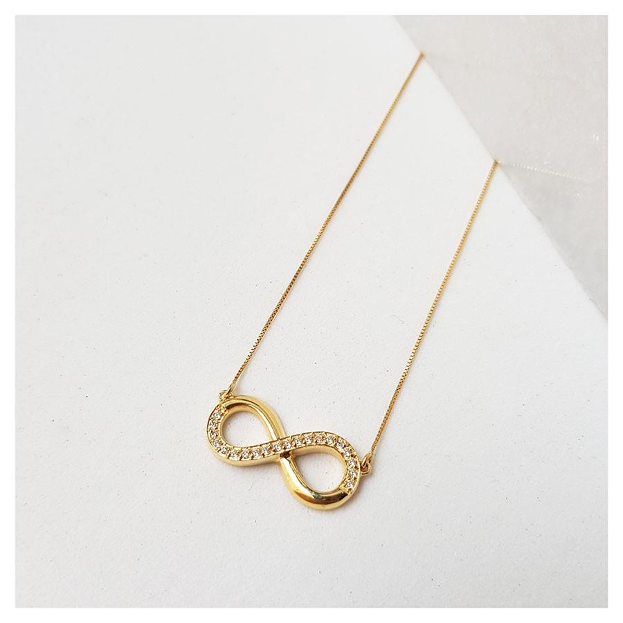 Corrente com Pingente Ouro 18k Infinito com Diamantes  - YVES