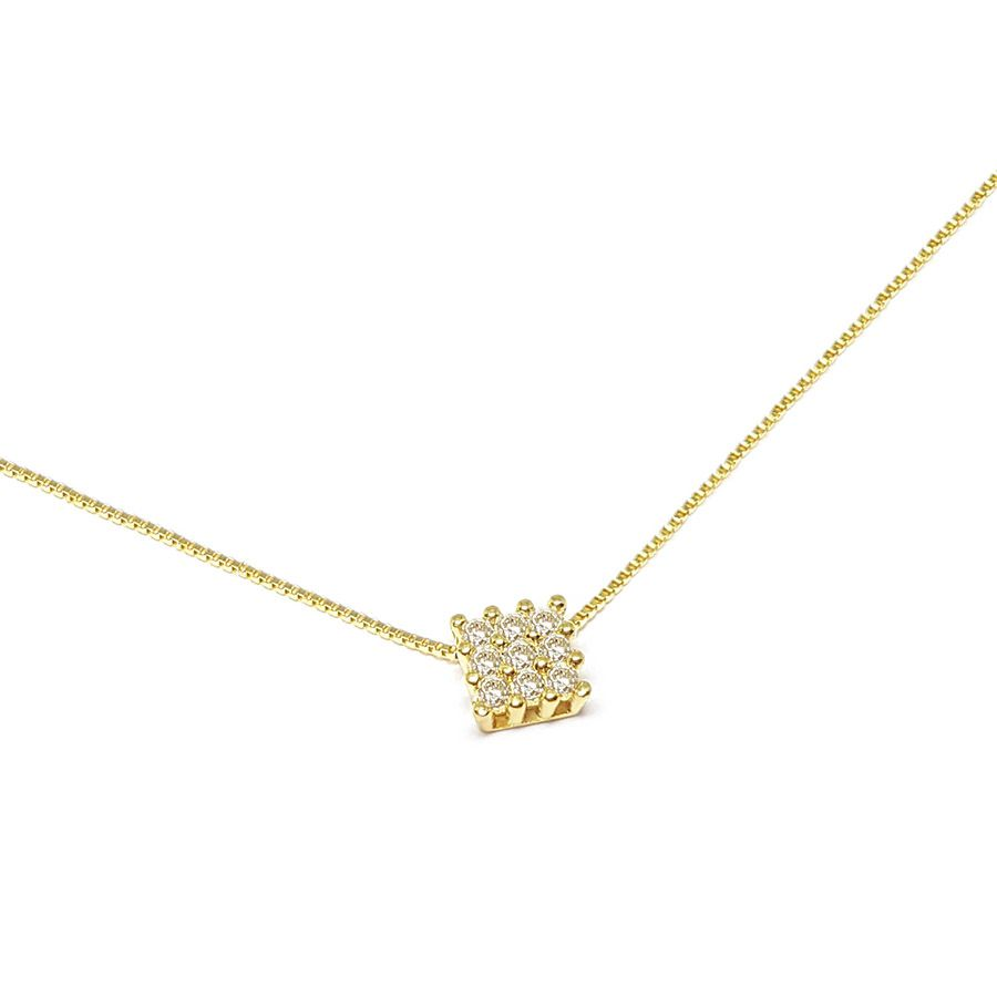 Corrente Com Pingente Ouro 18k Quadrado com Diamantes   - YVES