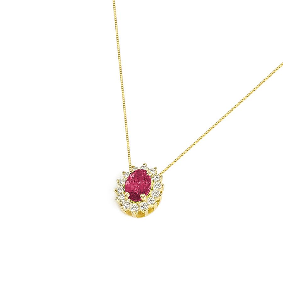 Corrente Com Pingente Ouro 18k Rubi Oval com Diamantes  - YVES