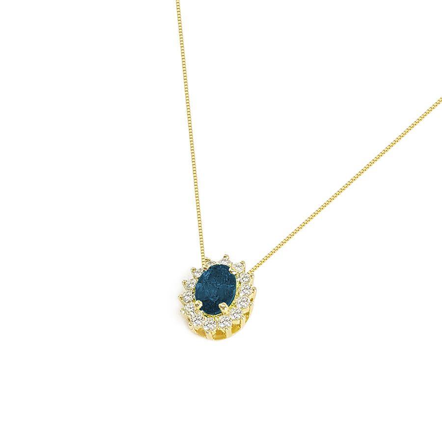 Corrente Com Pingente Ouro 18k Safira Oval com Diamantes  - YVES
