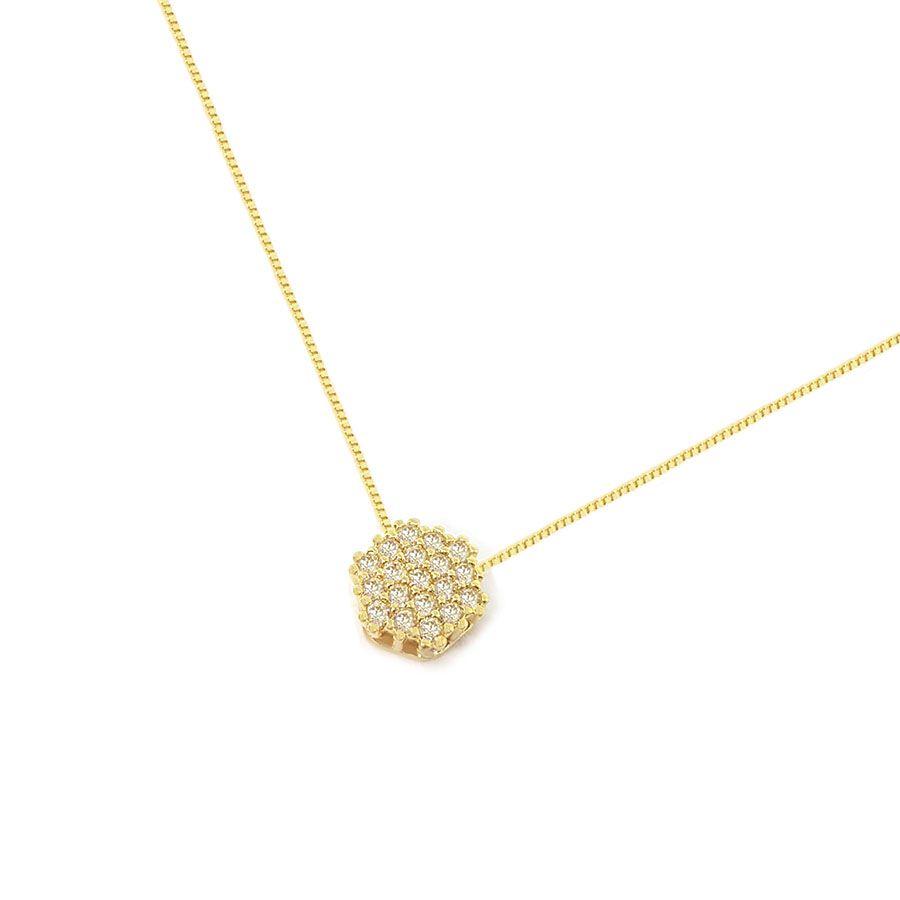 Corrente Com Pingente Sextavado Ouro 18k com Diamantes