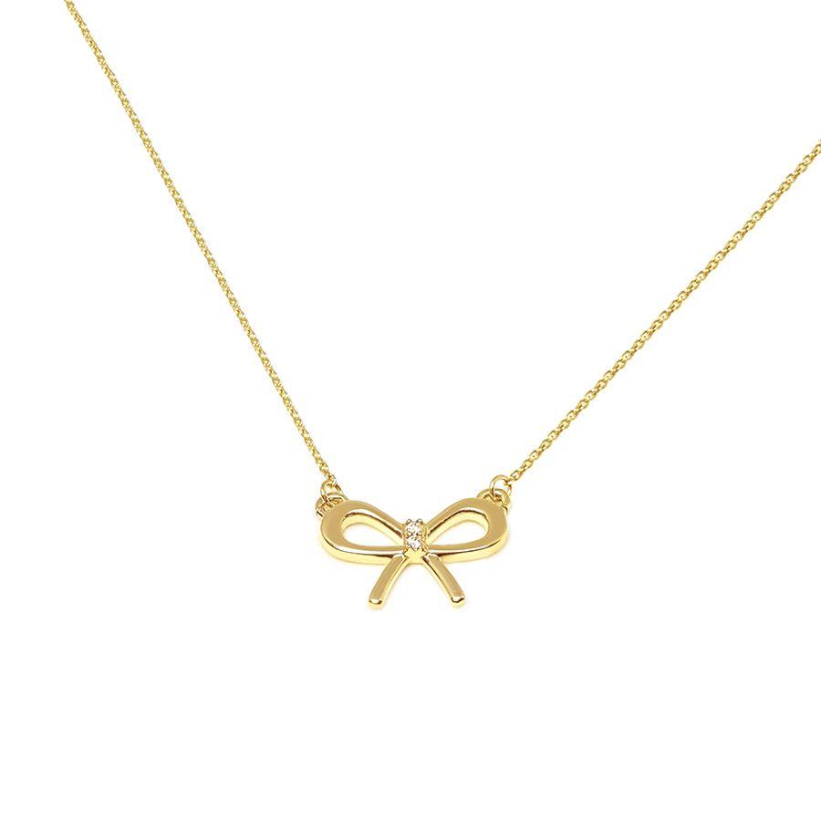Gargantilha Ouro 18k Lacinho com Diamantes
