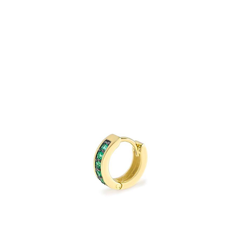 Piercing Argola Ouro 18k com 5 Esmeraldas