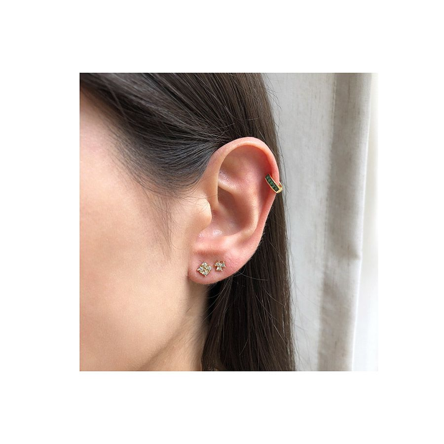 Piercing Argola Ouro 18k com 5 Esmeraldas  - YVES
