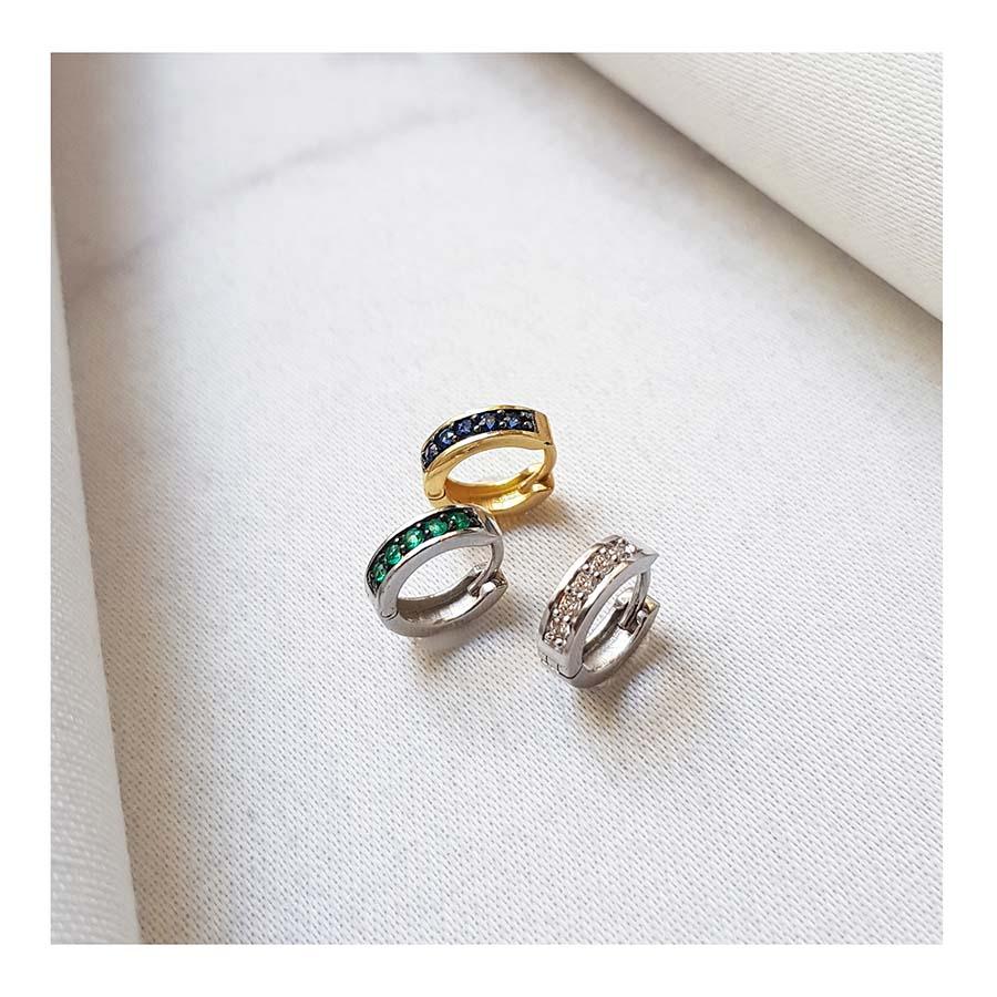Piercing Argola Ouro 18k com 5 Safiras  - YVES