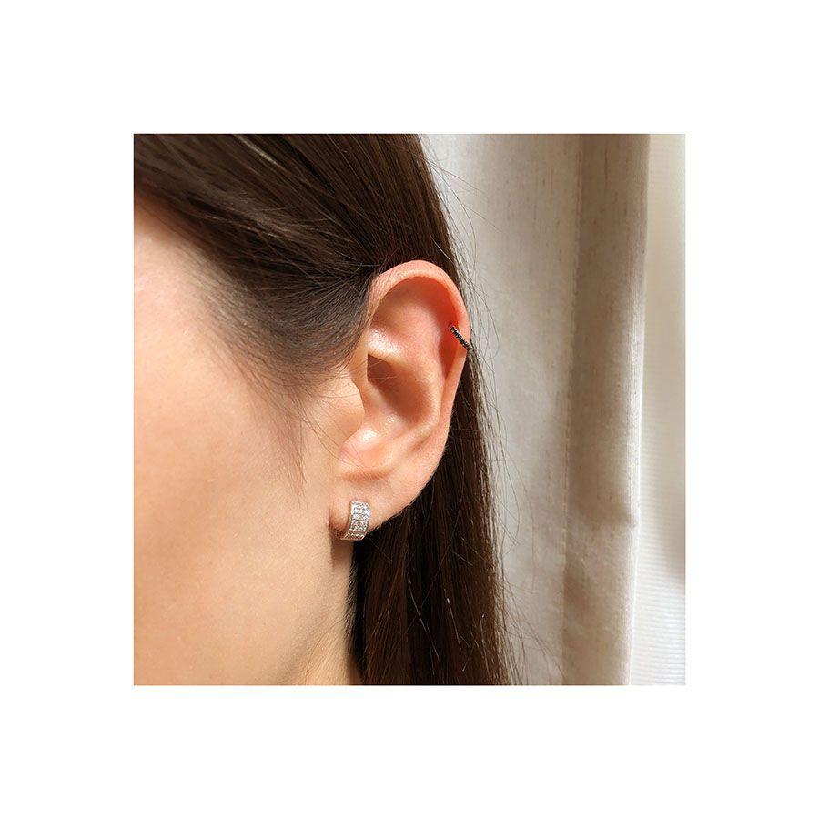 Piercing Argola Ouro 18k com Diamantes Negro  - YVES