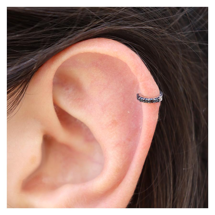 Piercing Argola Ouro 18k Mini com Diamantes Negro  - YVES