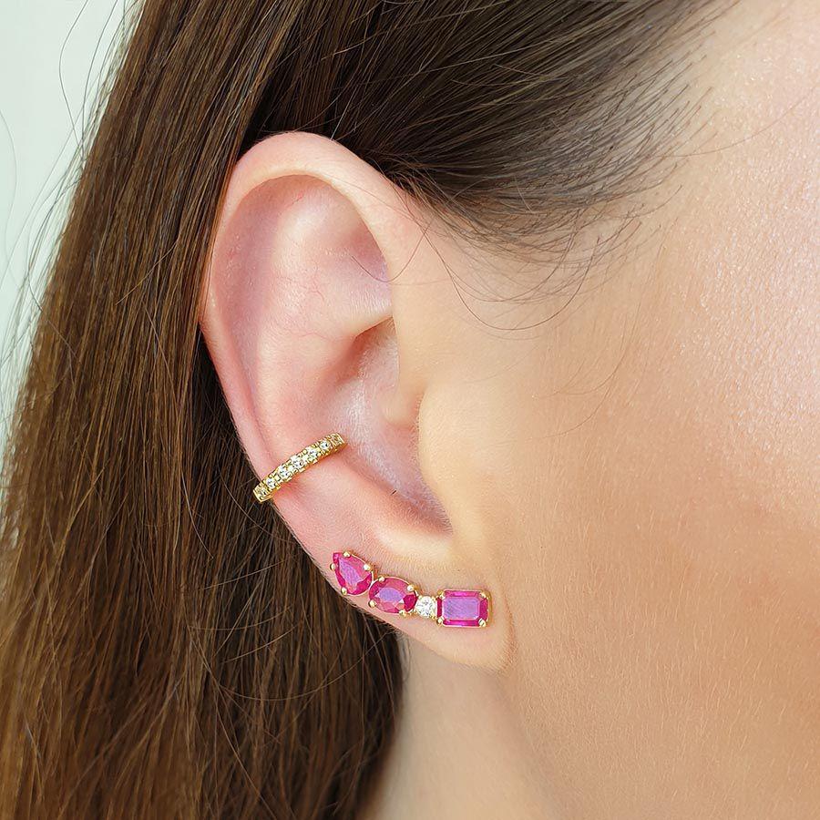Piercing Fake Ouro 18k com Diamantes   - YVES